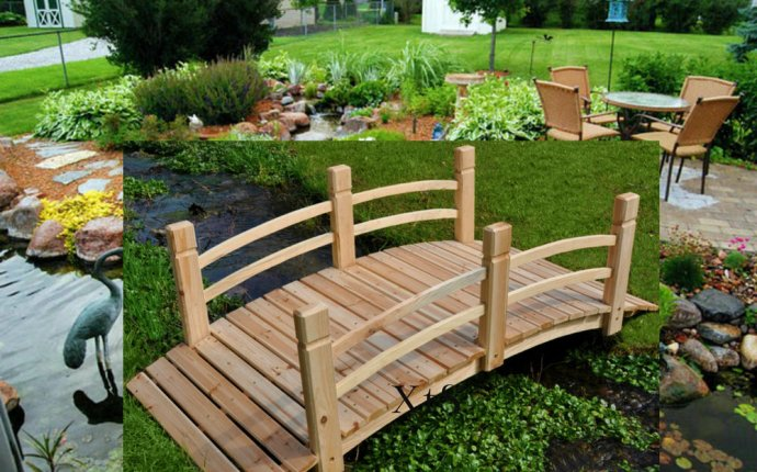 Details about Wood Garden Bridge Landscape Pond Decor Feng Shui